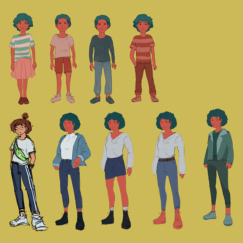 Robin, een interactief levensverhaal, character designs
